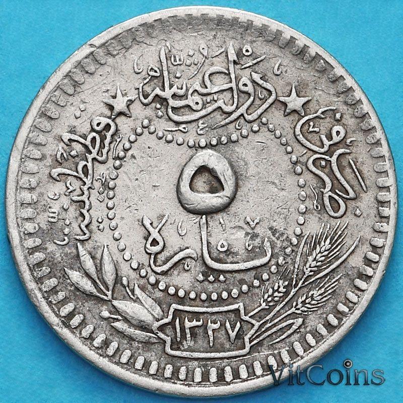 Монета Турция 5 пара 1909 год.