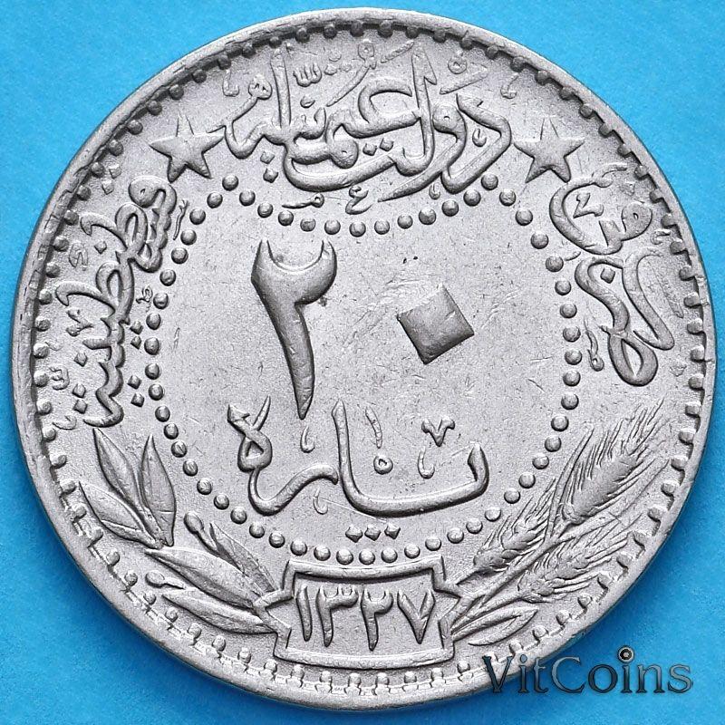 """Монета Турция, Османская империя 20 пара 1909 год. На аверсе под тугрой цифра """"٣"""" (3)"""