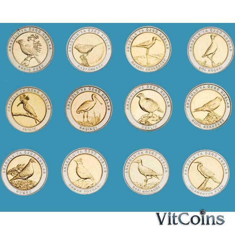Турция набор 24 монеты биметалл 2019-2020 год. Птицы.