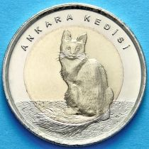 Турция 1 лира 2015 год. Ангорская кошка