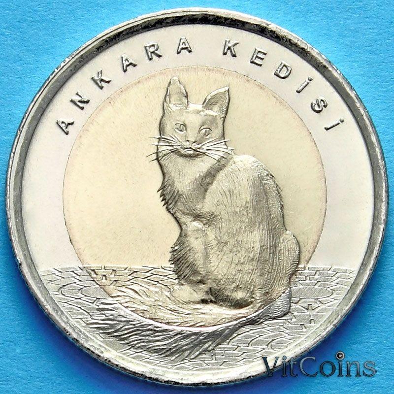 Монета Турции 1 лира 2015 год. Ангорская кошка
