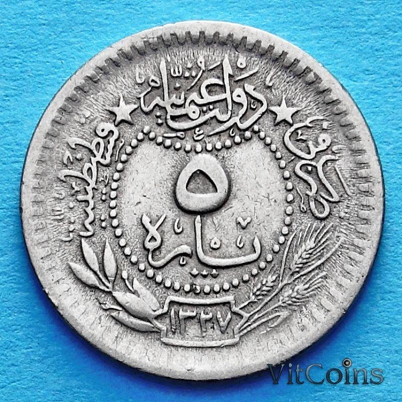 Монета Турция, Османская империя 5 пара 1911 год.