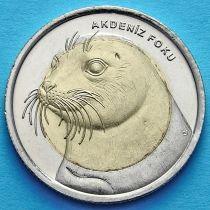 Турция 1 лира 2013 год. Тюлень-Монах.