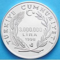 Турция 3000000 лир 1998 г. Серебро