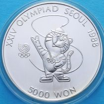 Южная Корея 5000 вон 1986 год. Олимпиада в Сеуле. Серебро