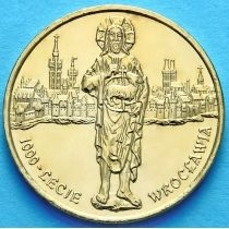 2 злотых Польша 2000 год. Вроцлав