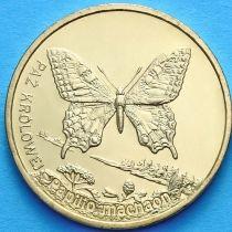 2 злотых Польша 2001 год. Бабочка Махаон.