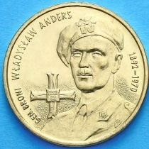 2 злотых Польша 2002 год. Владислав Андерс