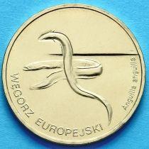 2 злотых Польша 2003 год. Европейский угорь.