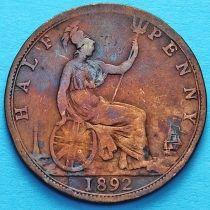 Великобритания 1/2 пенни 1892 год.