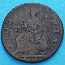 Великобритания 1/2 пенни 1742 год.