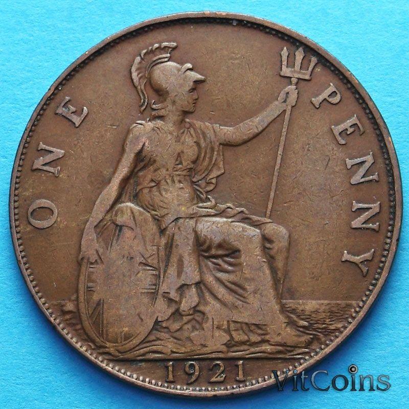 Монета Великобритания 1 пенни 1921 год.
