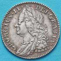 Великобритания 6 пенсов 1758 год. Серебро.