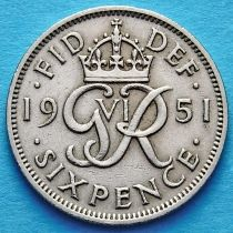 Великобритания 6 пенсов 1951 год.