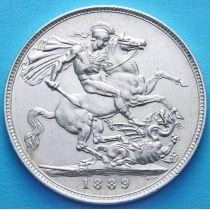 Великобритания 1 крона 1889 год. Серебро.