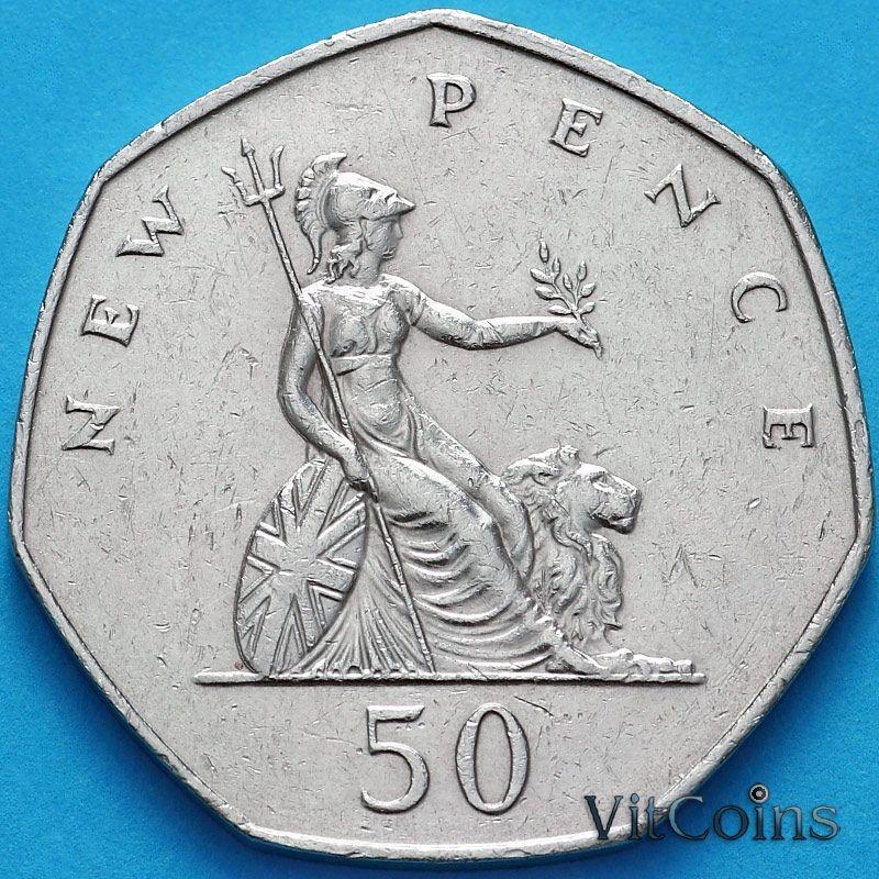 Монета Великобритания 50 новых пенсов 1976 год.