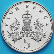 Великобритания 5 пенсов 1982 год.