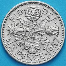 Великобритания 6 пенсов 1957 год.
