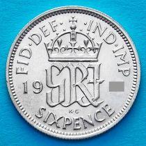 Великобритания 6 пенсов 1943 год. Серебро