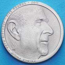 Великобритания 5 фунтов 2011 год. 90 лет принцу Филиппу..