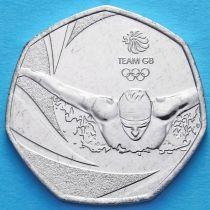 Великобритания 50 пенсов 2016 год. Олимпиада. Плавание.