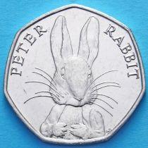 Великобритания 50 пенсов 2016 год. Кролик Питер.