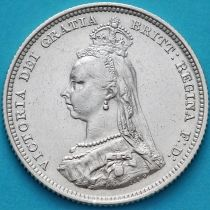 Великобритания 1 шиллинг 1887 год. Серебро. №2