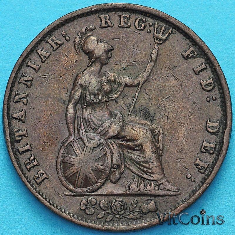 Монета Великобритания 1/2 пенни 1854 год.