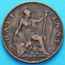 Великобритания 1/2 пенни 1906 год.