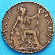 Великобритания 1/2 пенни 1911 год.