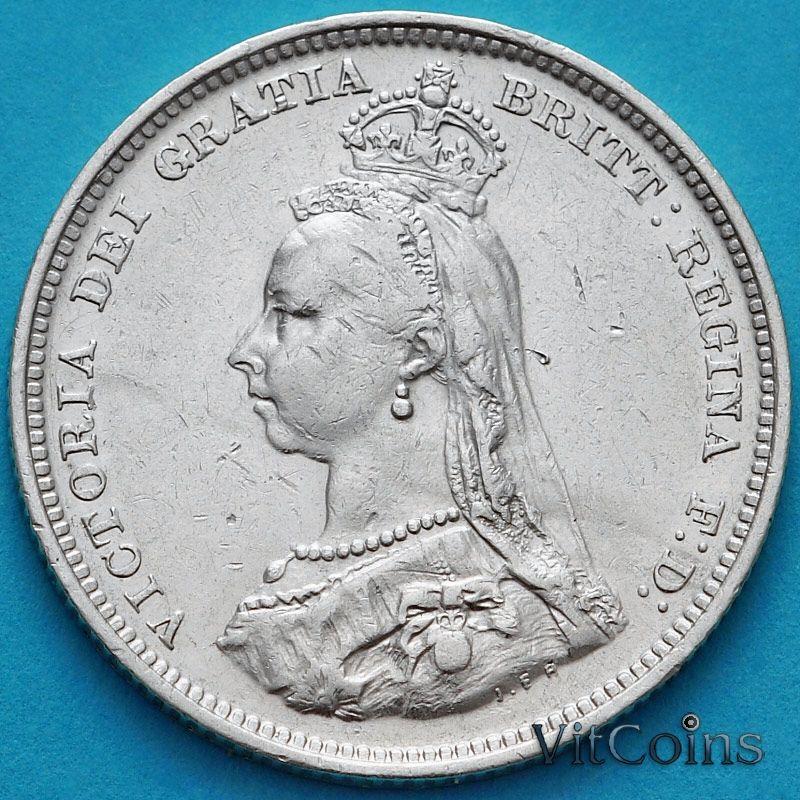 Монета Великобритании 1 шиллинг 1887 год. Серебро. №1