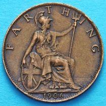 Великобритания 1 фартинг 1906 год.