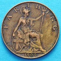 Великобритания 1 фартинг 1909 год.