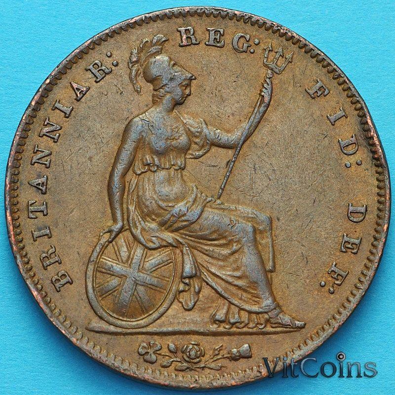 Монета Великобритания 1 пенни 1855 год.
