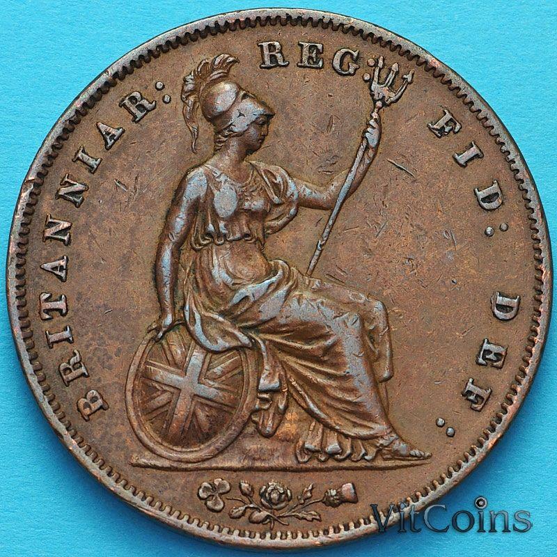 Монета Великобритания 1 пенни 1858 год.
