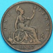Великобритания 1 пенни 1887 год.