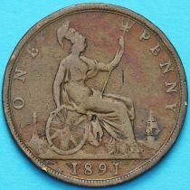 Великобритания 1 пенни 1891 год.