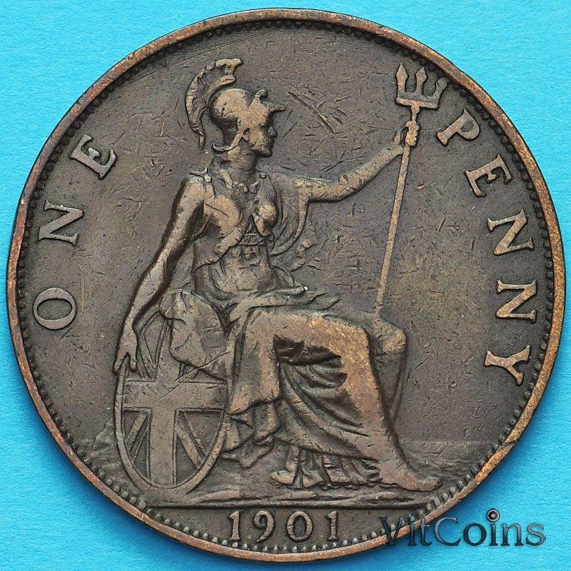 Монета Великобритании 1 пенни 1901 год.