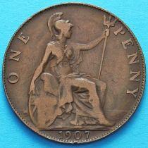 Великобритания 1 пенни 1907 год.