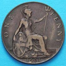Великобритания 1 пенни 1908 год.