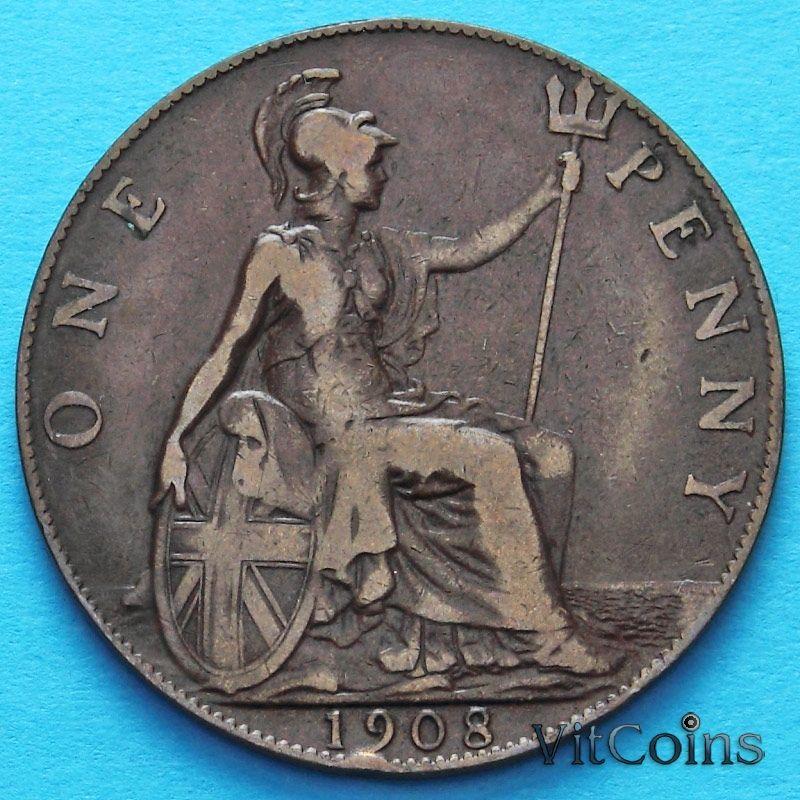Монета Великобритании 1 пенни 1908 год.