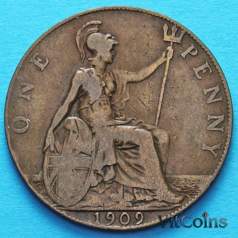 Монета Великобритании 1 пенни 1909 год.