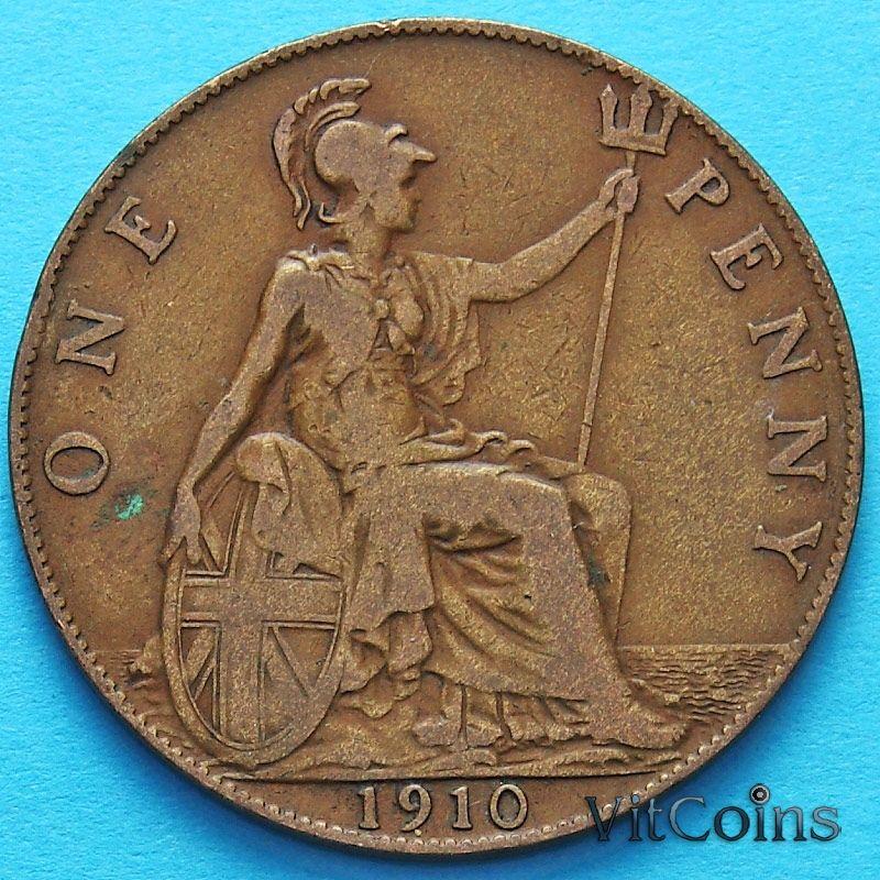 Монета Великобритании 1 пенни 1910 год.