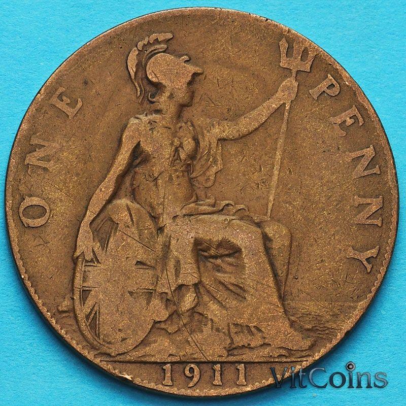 Монета Великобритании 1 пенни 1911 год.