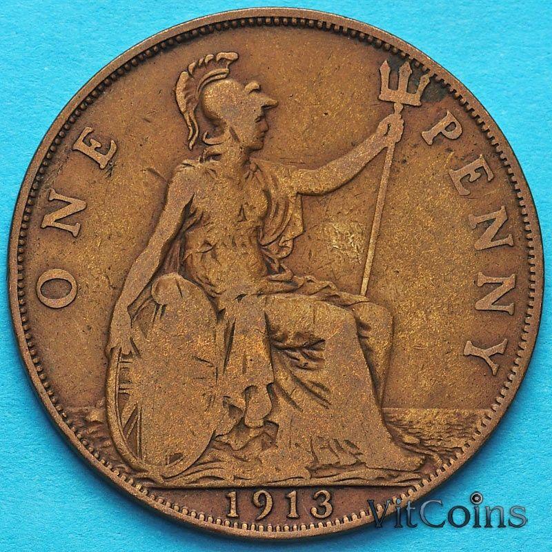 Монета Великобритании 1 пенни 1913 год.