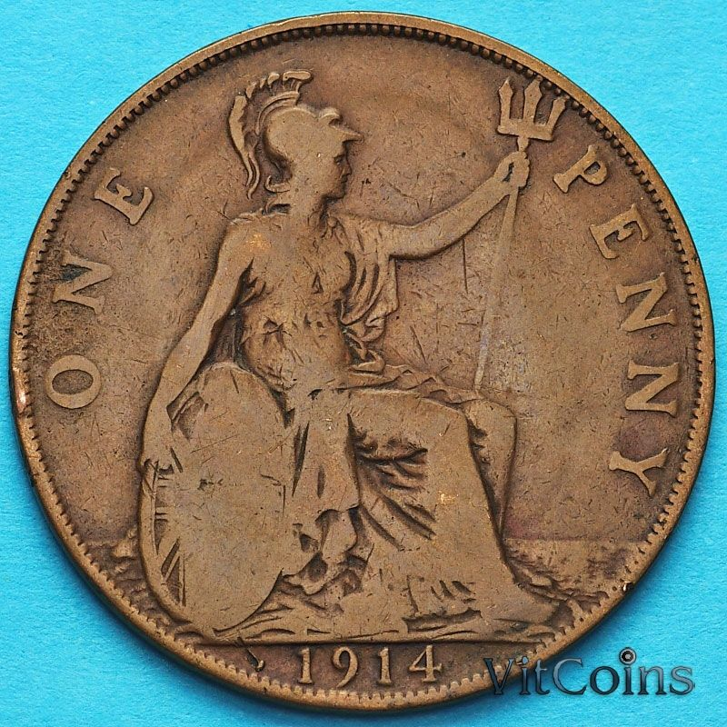 Монета Великобритании 1 пенни 1914 год.