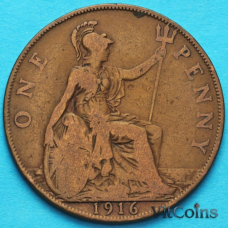 Монета Великобритании 1 пенни 1916 год.