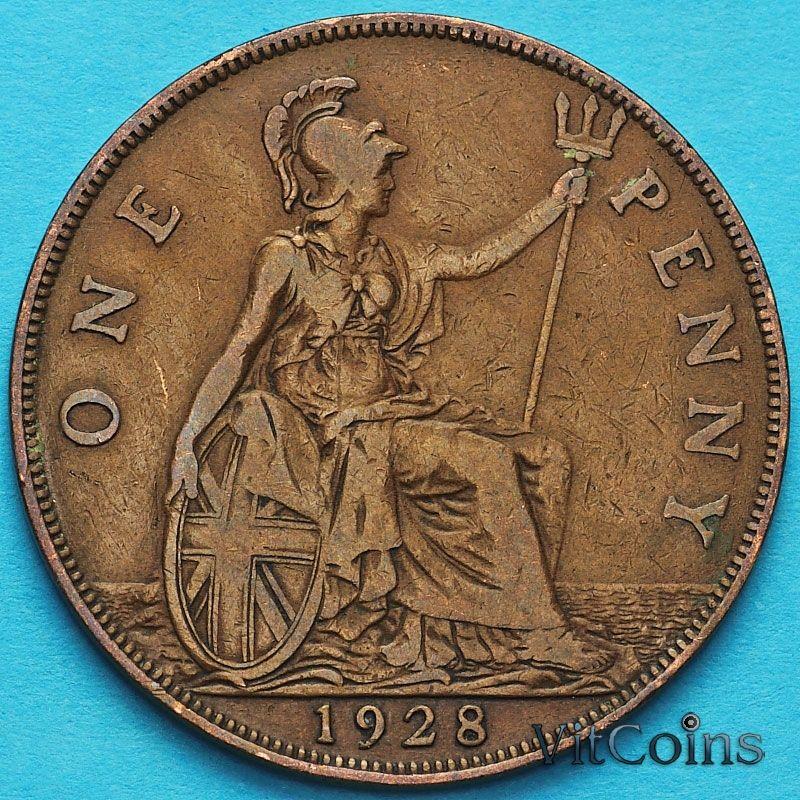 Монета Великобритании 1 пенни 1928 год.