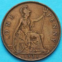Великобритания 1 пенни 1931 год.