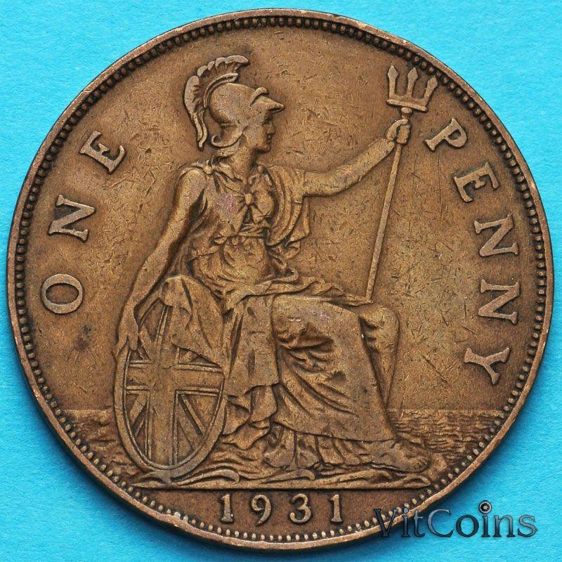 Монета Великобритании 1 пенни 1931 год.